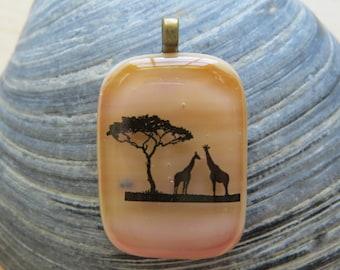 0231 - Giraffe Fused Glass Pendant