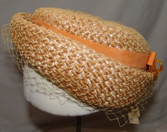 Vtg Womens Pillbox Hat Straw Veil NOS w/ Tags Small Peach Natural Union Made Church