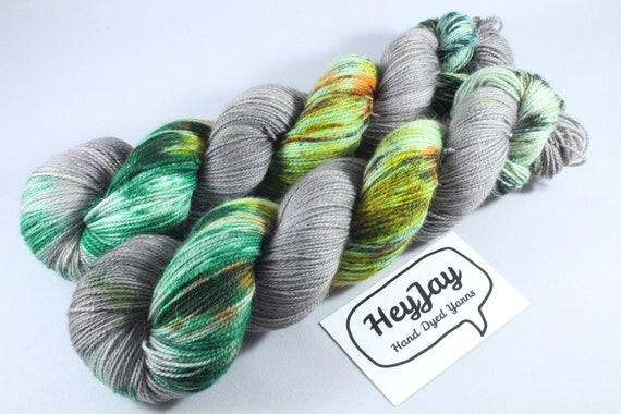 Hand Dyed Ultimate Sock Yarn, BFL High Twist - Woodland