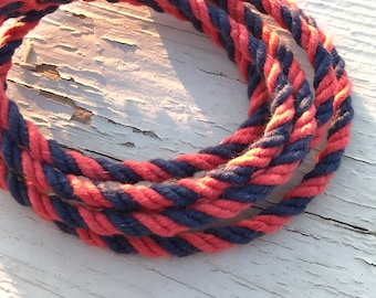 5MM Natural Blue and Red Cotton Twisted Cord Rope Craft Jewelry Beading Macrame Artisan String
