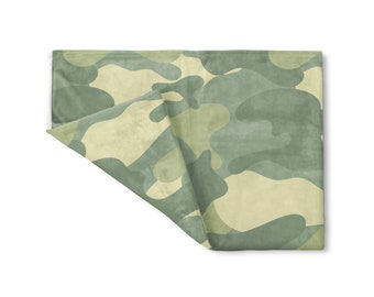 Camo Fleece Blanket, Small Medium Large, Fireside Throw Polyester Baby Shower Wedding Bridesmaid Gifts Personalized Custom Name