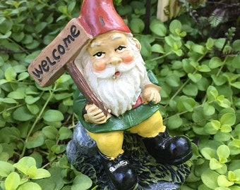 SALE Mini Gardening Gnome Figurine, Sitting Gnome With Welcome Sign, Miniature Gardening Accessory, Home and Garden Decor, Mini Gnome