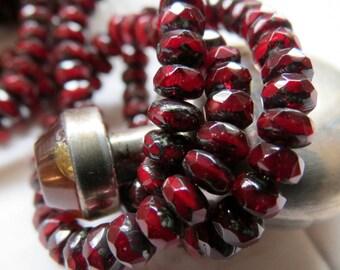 NEW GARNET GEMS . Czech Picasso Glass Beads (30) 3 by 5 mm