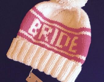 Pink Bride Pom Pom Beanie, Retro Ski Hat for Photo Props, Snowboard Beanie for Winter Wedding, Handknit Hat for Bachelorettes