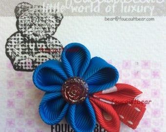 Blue Kanzashi Flower Hair Clip Clippie for Toddler Baby Girls