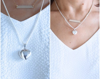 Mother Daughter Locket Necklace, Genuine 925 Sterling Silver Heart locket Necklace. Large and Small locket included. R-19 - R-17.