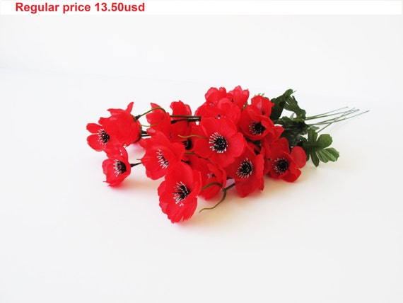 Grand sale 5 artificial flowers silk poppy branches windflower grand sale 5 artificial flowers silk poppy branches windflower bouquet anemone bush 5 red green black 18 floral accessory faux fabric from flowersfield mightylinksfo