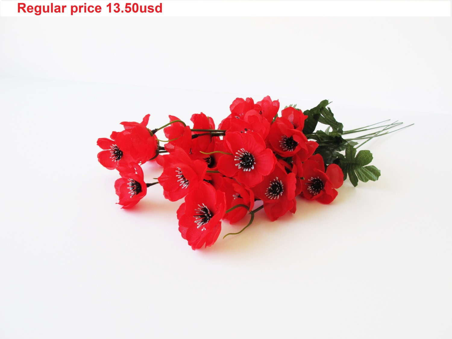 GRAND SALE 5 Artificial Flowers Silk Poppy Branches Windflower ...