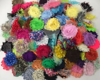 Shabby chiffon flowers grab bag, shabby rose flowers, fabric flowers for headband, scrapbook flowers, shabby rose trim, craft flowers bulk