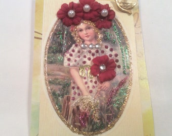 """ACEO Tiny Mini Art Card Magnet - """"Little Girl In Red"""""""