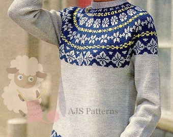 "PDF Knitting Pattern for a Ladies Norwegian or Fair Isle Sweater To Fit 34-40"" Busts - Instant Download"