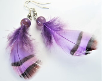 Amethyst earrings and Guinea fowl feathers