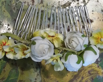 1950's Yellow and white bridal comb original vintage flowers