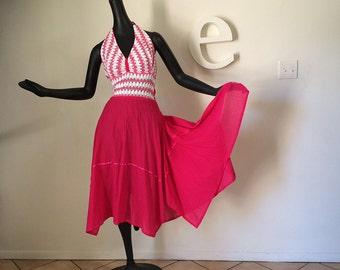 Vintage 70s Hippie Halter Dress Hot Pink & White Chevron Stripe Scarf Hem Cotton Gauze Cloth Bohemian Coachella Festival Dress Size Medium