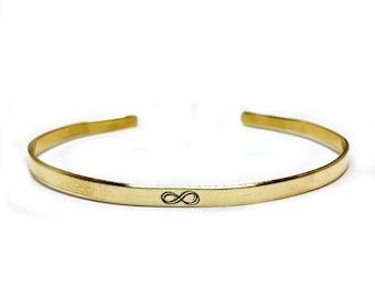 Infinity Handstamped Skinny Cuff // Infinity Bracelet + Wanderlust Jewelry + Mantra + Boho Style + Bohemian + Gift For Her + Bohemian Idea