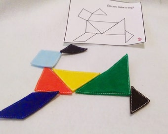 Felt Tangram game Perfect for party favors, school treats  busy bags or quiet books #3851