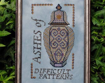 """Cross Stitch Instant Download Pattern """"Ashes of Difficult Patterns"""" Counted Embroidery Chart Ornamental Design Sampler Motto X Stitch Design"""