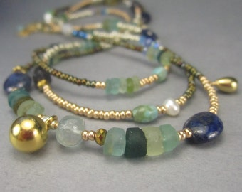 Long Necklace of Roman Glass and Gemstones or Gold Boho Beaded Wrap Bracelet