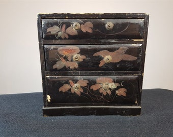 Antique Asian Miniature Chest of Drawers Wood and Laquer Ware Doll House Furniture or Jewelry Box Oriental Late 1800's - Early 1900's