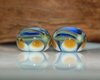 Lampwork Bead Pair Organic Abstract Amber Green Blue Lavender Jewelry Making  Earring Beads