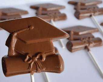 Graduation Chocolate Lollipop (12), Chocolate Graduation Favor, Chocolate Graduation Sucker, Graduation Chocolate, Chocolate Cap and Diploma