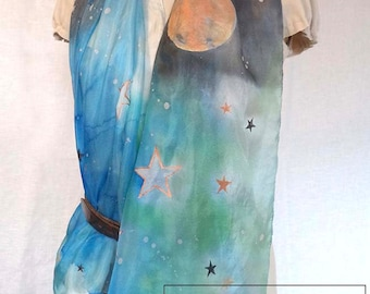 STARRY NIGTH FULL Moon hand painted silk scarf/white,copper,gold black stars all over/charcoal royal blue ombre sky/original wearable art