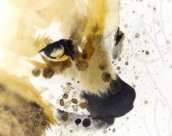 """Martinefa's Original watercolor and Ink Dog """"Chihuahua"""""""