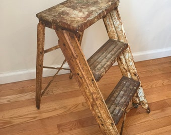 Small Vintage Rustic Step Ladder - Industrial Metal Step Ladder for Decor - Great Rusty Patina