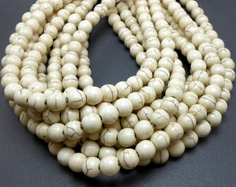 50 Natural White Howlite Beads 8MM (H7011-OS)