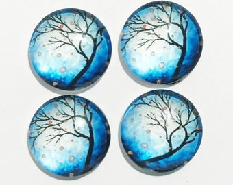 Flat round  glass cabochon, Tree of life cabochon 18mm, bulk cabochon #6