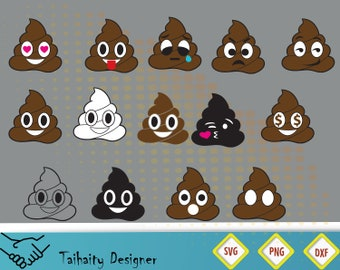 Poop emoji svg file/ Poop svg, dxf, png/ Printable/ SVG cut file/ Vector/ Digital/ Print/ Instant download