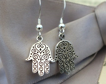 Hamsa Hand earring with Henna like etched pattern, Sterling Silver