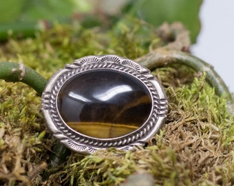 Art Deco Sterling Silver D/L Garcia Marked Southwestern Style Tigers Eye Broach Pin