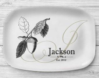 Melamine Acorn Platter, Personalized Fall Acorn Serving Platter, Monogrammed Melamine Platter, Personalized Serving Tray, Kitchen Decor