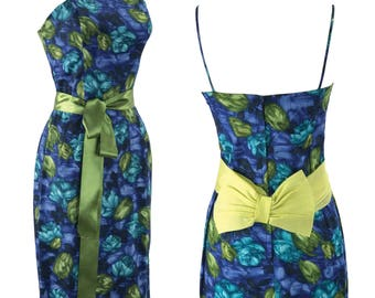 1950-1960 Blue & Green Roses Cotton Dress Ensemble - Late 50s Early 60s Dress and Jacket Set
