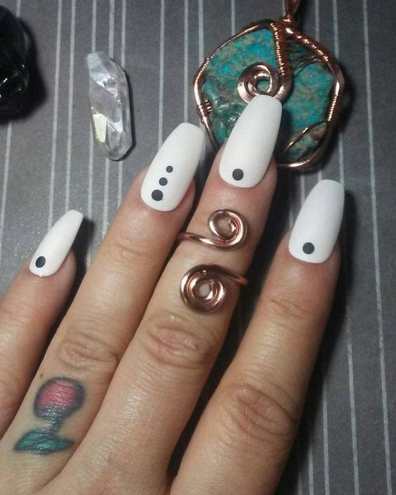 Coffin Nails Matte White & Black Dots, Acrylic Press Glue on Nails ...
