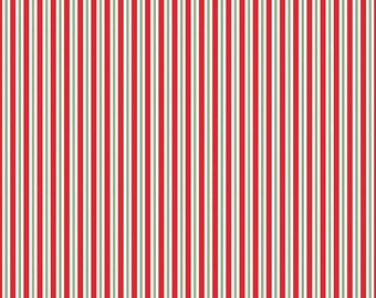 Kewpie Christmas Stripes Red - Riley Blake Designs - Holiday Green and Red Stripe - Quilting Cotton Fabric - choose your cut