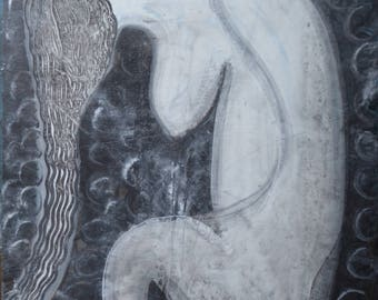Long Hair 16X20 Black White Abstract