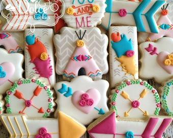 Boho Arrow Teepee Feather Bridal Shower Wedding Birthday First Birthday Elegant Shabby Chic Floral Cookies