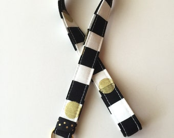Stripe neck lanyard - gold - ID Lanyard - gold key fob - gold lanyard - black stripes - lanyard - key lanyard - key fob - teachers lanyard
