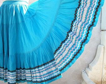 Vintage 50's Mexican Full Circle Skirt, Turquoise Fiesta, Patio, Tiered, Rick Rack, Southwest Skirt