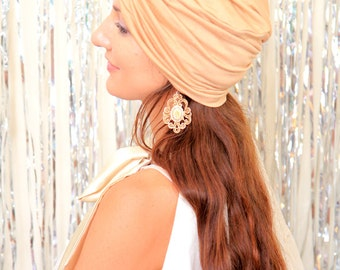 Fashion Turban Hat in Honey -  Light Gold Women's Hair Wrap - Jersey Knit Head Covering - Lots of Colors