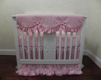Mini Crib Baby Bedding Set Giselle Pink - Pink Mini Crib Bedding