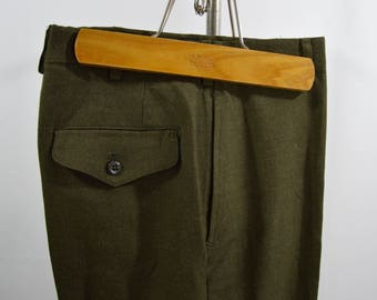Vintage 1970s Green Wool Serge Military Trousers Size 28x31