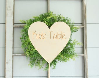Kids Table Sign Rustic Wedding Sign Wedding Kids Table Heart Sign #DownInTheBoondocks