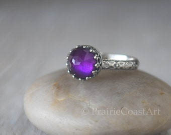 Amethyst Ring Sterling Silver - Handcrafted Artisan Silver Amethyst Ring -  Crown Bezel Amethyst Hand Forged - February Birthstone