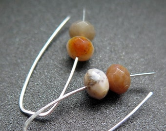agate earrings. natural stone jewelry. sterling silver ear wires. splurge.