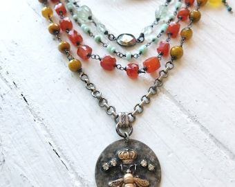 Colorful Multistrand Gemstone Necklace |Soldered Bee Pendant