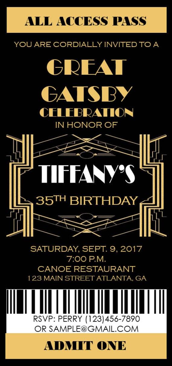 Great Gatsby Invitation Prom Ticket Party Invitation Any
