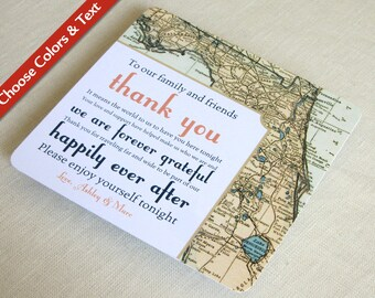 Florida Map Wedding Reception Thank You Card - Vintage Destination Travel - Custom Colors - Custom Wording